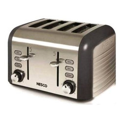 Metal Ware Corp. - Nesco 4 Slice Toaster Stainless Steel, Gray - - The Thunder Grey NESCO 4-Slice Toasters look sharp and come loaded with features. Extra-wide slots automatically center before toasting. The selected function button will glow blue when in use. Set the tint level with the shade control dial and monitor with the Lift + Look lever without interrupting the toasting process. Slide out the crumb tray for quick and easy cleanup.