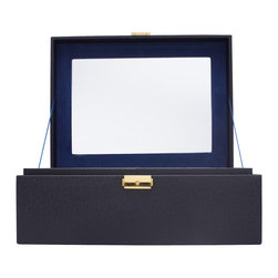 WOLF - Brighton Jewelry Box Large, Black - Add a pop of color with the Brighton collection. Each case features a rich, saffiano leather exterior in orange, cream, or black and a contrasting plush interior.  The large jewelry box contains a vanity mirror behind the lid and two pull out trays with open compartments and a ring roll.