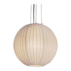 Trend Lighting - Shanghai Round Pendant - Add alluring atmosphere to your space with this pretty pendant. With its sheer pearl ribbon shade and soft warm glow, it's airy, ethereal and downright dreamy.