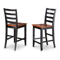 "East West Furniture - Fairwinds Stool Microfiber Seat with Ladder Back in Black and Cherry - Set of 2 - Fairwinds Stool Microfiber Upholstered Seat with Lader Back in Black and Cherry - Set of 2; This counter height pub set features a solid wood table & chairs in an elegant Black & Cherry color.; The dining set's table & chairs have an easy-care satin finish.; The squared table top has a butterfly leaf shaped to fit into the table seamlessly.; Each ladder back bar stool rests squarely on sturdy solid wood legs at counter height.; This pub set features a choice of wood seating or upholstered bar stool seats.; A Fairwinds dining set blends equally well with contemporary or period styles.; Its clean lines look modern, while its solid wood construction evokes traditional craftsmanship.; Weight: 35 lbs; Dimensions: 18""L x 17.5""W x 41.5""H"