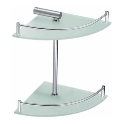Renovators Supply - Corner Shelves Frosted Glass/Stainless 2 Tier Corner Shelf | 13539 - Glass shelves are a modern option for the well appointed bathroom. Easy to clean, attractive, and ergonomic. Maintain order in your bathroom and improve its style. Frosted tempered glass with both polished and brushed strainless steel accents. 12 inch H.