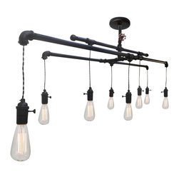 Hammers & Heels - Rustic Metal Industrial Custom Pipe & Cloth Cord Chandelier - 8 Light - VINTAGE INDUSTRIAL METAL CHANDELIER.