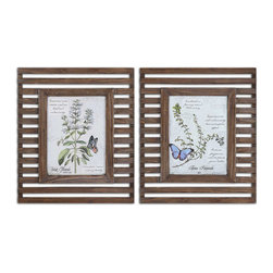 Uttermost - Uttermost Herbs and Butterflies 26x22 Rectangular Wood Framed Art - Prints are Accented by Reclaimed Wood Frames with a Distressed, Medium Wood tone Finish and a Taupe Glaze. Frames Have Open Slots Allowing Wall Color to Show Thru.