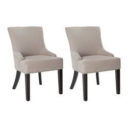 Safavieh - Safavieh Lotus Kd Side Chair X-2TES-H0074RCM Set of 2 - Straight, angular lines and simple details distinguish the padded Lotus KD side chair, in beige linen with espresso finished legs.