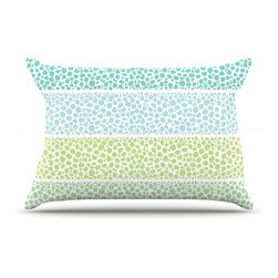 """Kess InHouse - Pom Graphic Design """"Zen Pebbles"""" Green Teal Pillow Case, Standard (30"""" x 20"""") - This pillowcase, is just as bunny soft as the Kess InHouse duvet. It's made of microfiber velvety fleece. This machine washable fleece pillow case is the perfect accent to any duvet. Be your Bed's Curator."""