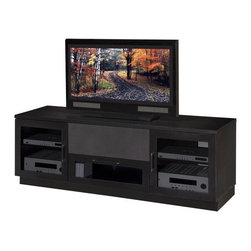 """Furnitech - Contemporary 70"""" TV Stand - This classic TV console is the perfect addition to any room in your home. This contemporary TV stand offers ample storage for A/V accessories and will nicely complement traditional or contemporary furniture. Features: -Large open compartment for center channel speaker or component.-Plinth base.-Sculpted stainless steel bar handles.-Two solid wood framed, stipple glass doors.-Media storage drawer.-Internal wire management.-Ventilated back panel.-Due to color variance in the product finish, actual TV stand finish may differ from image.-Recommended TV Type: Flat screen or plasma.-Powder Coated Finish: No.-Gloss Finish: Yes.-Material: Veneer, MDF, Solid Wood.-Number of Items Included: 1.-Distressed: No.-Exterior Shelves: No.-Drawers: Yes -Drawer Glide Material: Steel drawer glides.-Drawer Glide Extension: Full extension glides.-Soft Close Drawer Glides: No.-Safety Stop: Yes.-Ball Bearing Glides: No.-Joinery Type: Heavy wood block cleats with thick metric screws.-Drawer Dividers: No.-Drawer Handle Design: Sculptured Steel Handles..-Cabinets: Yes -Number of Doors: 2.-Door Attachment Detail: European Hinge.-Interchangeable Panels: No.-Magnetic Door Catches: No.-Cabinet Handle Design: Sculptured stainless steel and black bar handles.-Number of Interior Shelves: 4.-Adjustable Interior Shelves: Yes..-Scratch Resistant: No.-Ventilation Features: Ventilation slots in back panel.-Removable Back Panel: Yes.-Hardware Finish: Stainless Steel.-Casters: No.-Accommodates Fireplace: No.-Fireplace Included: No.-Lighted: No.-Media Player Storage: Yes.-Media Storage: Yes -Media Storage Capacity: 68 DVDS/175 CDS..-Cable Management: Yes.-Remote Control Included: No.-Batteries Required: No.-Weight Capacity: 500.-Swatch Available: Yes.-Commercial Use: Yes.-Collection: Contemporary.-Eco-Friendly: Yes.-Recycled Content: No.-Lift Mechanism: No.-Expandable: Yes.-TV Swivel Base: No.-Integrated Flat Screen Mount: No.-Hardware Material: Stainless steel hinges,"""