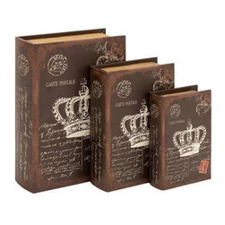 """Benzara - Book Box with an Antiqued Brown Finish - Set of 3 - Book Box with An Antiqued Brown Finish - Set of 3. This wood box is sure to be a part of your interiors if you want an English grandeur in your decor. It comes with following dimensions 10""""W x 3.5""""D x 13""""H. 8""""W x 3""""D x 11""""H. 6""""W x 2""""D x 8""""H."""