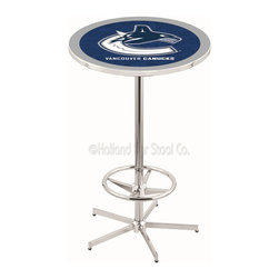 Holland Bar Stool - Holland Bar Stool L216 - 42 Inch Chrome Vancouver Canucks Pub Table - L216 - 42 Inch Chrome Vancouver Canucks Pub Table  belongs to NHL Collection by Holland Bar Stool Made for the ultimate sports fan, impress your buddies with this knockout from Holland Bar Stool. This L216 Vancouver Canucks table with retro inspried base provides a quality piece to for your Man Cave. You can't find a higher quality logo table on the market. The plating grade steel used to build the frame ensures it will withstand the abuse of the rowdiest of friends for years to come. The structure is triple chrome plated to ensure a rich, sleek, long lasting finish. If you're finishing your bar or game room, do it right with a table from Holland Bar Stool.  Pub Table (1)