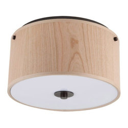 Lights Up - 10 in. Round Flush Mount (Ebony Wood) - Finish: Ebony Wood. Bulbs not included. Requires two 60 watt bulbs. Wired for permanent mounting. Wooden shade. UL listed. Voltage: 120 Volts. Oil rubbed bronze frame color. 10 in. Dia. x 6 in. H