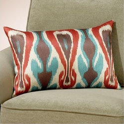Blue and Spice Printed Ikat Toss Pillow