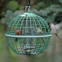 Globe Seed Feeder - Our original Nuttery Peanut Feeder has been in constant use for over 15 years in our Pennsylvania garden - winter and summer. Generations of Carolina wrens, tufted titmice, chickadees, nuthatches and downy woodpeckers have feasted inside its protecting bars. Red bellied woodpeckers poke their long beaks from outside to dine. Yet squirrels, grackles and blue jays have never managed to crash the ongoing party.