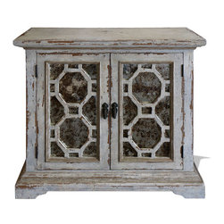 Geometric Mirror Buffet, Weathered Creams with Gray and Gold Leaf - Geometric Mirror Buffet, Weathered Creams with Gray and Gold Leaf