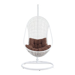 LexMod - Bestow Swing Outdoor Patio Lounge Chair in White Brown - Establish your space with the Bestow Outdoor Swing Chair. Sink into the plush all-weather white cushion as you evince both goodness and patience. Allow your ideas to leap outward as you bequeath eminence from an elevated state.