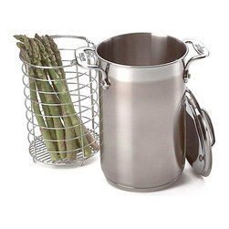 All Clad - All Clad SS Asparagus Pot - The tall, narrow stainless pot with steamer insert cooks asparagus perfectly, boiling the thicker stems while allowing the delicate tips to steam.                                                            -Finest-quality, highly-polished 18/10 stainless steel