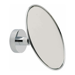 "Pivoting Shower Mirror, No Drill Adapters - This stylish 5-1/2"" Pivoting Shower Mirror from the LOXX collection adds a rich, contemporary style to any bathroom. This Pivoting Shower Mirror sports 3x magnification and a premium chrome finish. The round lines and clean design represents the ultimate in modern luxury and will pair perfectly with your Rotator Rod, the original curved shower rod that rotates for more room in your shower and more room in your bathroom."