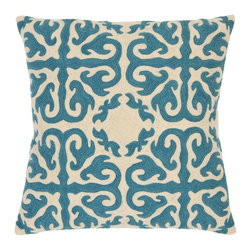 Safavieh - Moroccan Accent Pillow  - 18x18 - Blue - Moroccan Accent Pillow  - 18x18 - Blue