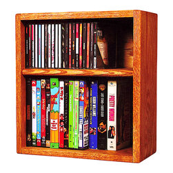 CD Racks - Solid Oak desktop or shelf for CD's and DVD's/ VHS Tapes - Handcrafted by the Wood Shed from durable solid oak hardwood
