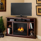 """Real Flame - Churchill Ventless Gel Fireplace in Dark Espr - Solid wood and veneered MDF construction.. Includes: MDF mantel, firebox, hand painted cast concrete log and screen kit.. Uses Only Real Flame 13oz Gel Fuel Cans, not included. Uses clean burning Real Flame Gel fuel emitting up to 9,000 BTUs of heat per hour lasting up to 3 hours. Assembly Required. 50.75 in. W x 30.5 in. D x 33.125 in. H (112 lbs.)This corner fitting TV mantel, is sure to become the family room centerpiece. With ample storage for A/V components, media, decor and more, the Churchill is the functional fireplace alternative to any TV stand. It's 33"""" height puts the television at a comfortable viewing level while thoughtful trim adds interest and detail."""