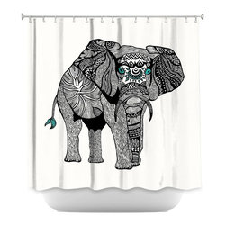DiaNoche Designs - Shower Curtain Artistic - One Tribal Elephant - DiaNoche Designs works with artists from around the world to bring unique, artistic products to decorate all aspects of your home.  Our designer Shower Curtains will be the talk of every guest to visit your bathroom!  Our Shower Curtains have Sewn reinforced holes for curtain rings, Shower Curtain Rings Not Included.  Dye Sublimation printing adheres the ink to the material for long life and durability. Machine Wash upon arrival for maximum softness. Made in USA.  Shower Curtain Rings Not Included.