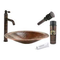 Premier Copper Products - Oval Old World Vessel Sink w/ ORB Faucet - PACKAGE INCLUDES: