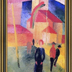 """Art MegaMart - August Macke Church with Flags - 16"""" x 24"""" Framed Premium Canvas Print - 16"""" x 24"""" August Macke Church with Flags framed premium canvas print reproduced to meet museum quality standards. Our Museum quality canvas prints are produced using high-precision print technology for a more accurate reproduction printed on high quality canvas with fade-resistant, archival inks. Our progressive business model allows us to offer works of art to you at the best wholesale pricing, significantly less than art gallery prices, affordable to all. This artwork is hand stretched onto wooden stretcher bars, then mounted into our 3 3/4"""" wide gold finish frame with black panel by one of our expert framers. Our framed canvas print comes with hardware, ready to hang on your wall.  We present a comprehensive collection of exceptional canvas art reproductions by August Macke."""