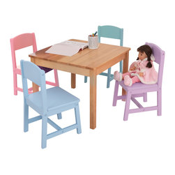 """KidKraft - Kidkraft Kids Room Decorative Seaside Table And 4 Chair Furniture Set - Our Seaside Table and Chair Set gives kids a perfect workspace for playing games, completing homework or even eating a delicious snack. Dimension: Table: 23.6:""""Lx 23.6""""Wx 18""""H, Chair: 11""""Lx 11.6""""Wx 21""""H (seat: 10.8""""H)"""