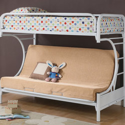 Coaster - 2253W Twin/Futon Bunk Bed - White - This full futon bunk bed in white features full length guard rails and welded braces for safety, while the top is a twin bed and below is a futon couch which can be converted into a full bed.
