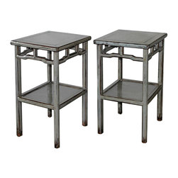 Gray Lacquered Tea Table - Gray lacquered tea table with bottom shelf. Perfect side tables next to a lounge chair or bed.  Available individually at $ 1650 each.