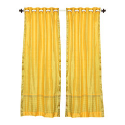 Indian Selections - Yellow Ring Top  Sheer Sari Curtain / Drape / Panel   - 60W x 63L - Piece - Size of each curtain: 60 Inches wide X 63 Inches drop. Sizing Note: The curtain has a seam in the middle to allow for the wider length  Made from Polyester Sari fabric  Top: 2 Inch Ring Top. Can accommodate rods up to 1.5 inches diameter  Machine Wash