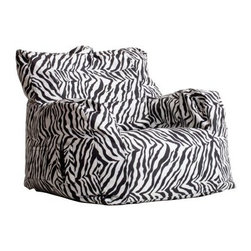 """Big Joe Dorm Bean Bag Chair - Zebra - Sit back and relax - Savannah style. The Big Joe Dorm Bean Bag Chair - Zebra is ideal for putting a bit of Serengeti-spice into your dorm-life. Designed to look and sit like a club chair this bean bag's SmartMax covering is tear- and stain-resistant. It also features UlimaX-bean filling to ensure it never flattens. About Comfort ResearchTen years ago Comfort Research created the Fuf chair an innovative update on the classic bean back chair made of patented Fuf foam. This special blend of foam never goes flat for long-lasting comfort. Based in Grand Rapids Michigan Comfort Research has recently developed several new lines of creative inventive chairs. They have addressed the needs of eco-friendly consumers by creating incredibly comfortable """"""""green"""""""" chairs; one style is made with buckwheat filling and organic cotton the other uses recycled polystyrene filling and a special fabric made of recycled pop bottles. No matter which style or shape of chair you choose you can be sure that your Comfort Research product will look great and stay comfortable for years to come."""