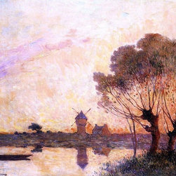 "Ferdinand Du Puigaudeau Sunset over La Briere  Print - 16"" x 20"" Ferdinand Du Puigaudeau Sunset over La Briere premium archival print reproduced to meet museum quality standards. Our museum quality archival prints are produced using high-precision print technology for a more accurate reproduction printed on high quality, heavyweight matte presentation paper with fade-resistant, archival inks. Our progressive business model allows us to offer works of art to you at the best wholesale pricing, significantly less than art gallery prices, affordable to all. This line of artwork is produced with extra white border space (if you choose to have it framed, for your framer to work with to frame properly or utilize a larger mat and/or frame).  We present a comprehensive collection of exceptional art reproductions byFerdinand Du Puigaudeau."