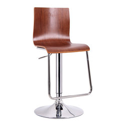 Baxton Studio - Baxton Studio Lynch Walnut Modern Bar Stool - This simple seat brings just the right amount of minimalism to your interior -no more, no less. An adjustable height bar chair, our Lynch Modern Bar Stool is made of plywood with walnut veneer and a steel base. The metal portions of the designer bar stool are kept contemporary with chrome plating and a plastic ring around the base protects hard flooring. 360 degree swivel makes the Lynch stool as functional as it is stylish. Made in China; assembly is required. To clean, dust with a dry cloth. This style is also offered in a light wood finish (sold separately).
