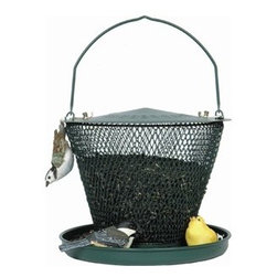 No-No Feeder - Green Tray Feeder - The Green Tray NO/NO holds over 2.5 pounds of black oil sunflower seeds, enough to feed 10 to 15 birds at one time. The birds can cling to the mesh or perch on the tray to eat.