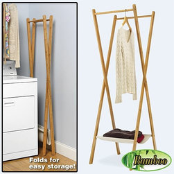 Whitmor - Bamboo Folding Garment Rack - Folding garment rack saves space. The foldable bamboo laundry/garment rack is a natural solution for air drying laundry. The slim folding design means it fits anywhere. Two durable water resistant rods create instant space in a bathroom laundry room anywhere for hanging clothes to dry.