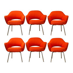 Knoll - Saarinen Executive Lounge Chairs, Set of 6 - Iconic (and very comfortable!), Classic 1960's stock of Saarinen chairs custom upholstered in a pop orange fabric. Manufactured by Knoll Furniture.