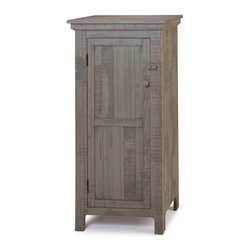 Brewster Jelly Cabinet, Vintage Sage - With a slight twist on the traditional jelly cabinet, our Brewster Jelly Cabinet has a distressed Vintage finish and an old-style wooden knob and turn latch. Historically these cabinets were used to store homemade canned goods; but it's also an ideal storage solution for bathrooms, hallways, or guest rooms. Or, use it as an instant pantry for a small kitchen, a handy linen closet for the bath or a wardrobe for sweaters. This solid wood cabinet has three sturdy adjustable shelves and metal hinges; the finish is hand rubbed and lightly distressed.