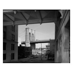 Brooklyn Bridge from Watchtower Print - Brooklyn Bridge, Spanning East River between Park Row, Manhattan and Sands Street, Brooklyn, New York, New York, NY. Photographed by Jet Lowe in 1982, Building/structure dates:1869 initial constructionSignificance: At the time of its opening on May 24, 1883, the Brooklyn Bridge was the longest spanning bridge in the world. It represents the culmination of nearly a lifetime's experience designing and building suspension structures and incorporates the pinnacle of development of design features conceived by John A. Roebling during this period. The Roebling system of suspension bridge construction became the standard for suspension bridges throughout the world.
