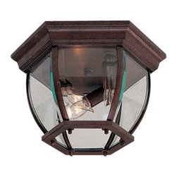 The Great Outdoors - The Great Outdoors GO 71174 3 Light Outdoor Ceiling Fixture from the Turnbridge - The Great Outdoors 71174 Three Light Flushmount Ceiling FixtureCombination of art and beveled glass make an elegant statement on this traditional exterior ceiling fixture.