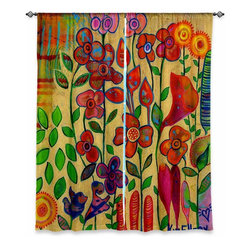 """DiaNoche Designs - Window Curtains Unlined by Kim Ellery - Golden Days - DiaNoche Designs works with artists from around the world to print their stunning works to many unique home decor items.  Purchasing window curtains just got easier and better! Create a designer look to any of your living spaces with our decorative and unique """"Unlined Window Curtains."""" Perfect for the living room, dining room or bedroom, these artistic curtains are an easy and inexpensive way to add color and style when decorating your home.  The art is printed to a polyester fabric that softly filters outside light and creates a privacy barrier.  Watch the art brighten in the sunlight!  Each package includes two easy-to-hang, 3 inch diameter pole-pocket curtain panels.  The width listed is the total measurement of the two panels.  Curtain rod sold separately. Easy care, machine wash cold, tumble dry low, iron low if needed.  Printed in the USA."""