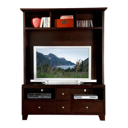 Homelegance - Hailey 2-Piece Entertainment Center - Part display shelf, part TV stand, this functional piece shows complete modern character. It'll keep your plasma TV perfectly perched for ideal viewing, while abundant shelf space allows endless display possibilities. A warm brown finish completes this contemporary standout.