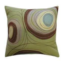 KOKO - Sand Dune Circles Pillow - What a natural beauty. The embroidery and applique work on this pillow will leave you dreaming of wind-carved deserts. Can't you imagine the watering hole in that simple patch of blue? This is a seriously powerful pillow!