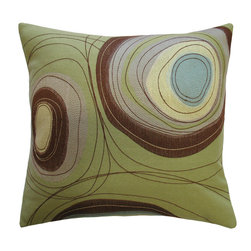 KOKO - Dune Pillow, Circles - What a natural beauty. The embroidery and applique work on this pillow will leave you dreaming of wind-carved deserts. Can't you imagine the watering hole in that simple patch of blue? This is a seriously powerful pillow!