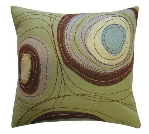 """KOKO - Dune Pillow, Circles, 20"""" x 20"""" - What a natural beauty. The embroidery and applique work on this pillow will leave you dreaming of wind-carved deserts. Can't you imagine the watering hole in that simple patch of blue? This is a seriously powerful pillow!"""