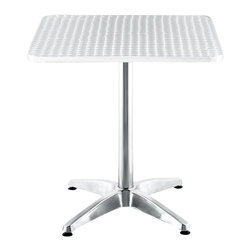 ZUO - Zuo Outdoor Christabel Square Aluminum Table - Perfectly outfit your patio with a sleek look, when you employ this square bistro table to set the tone for your space. This sturdy, rounded-edged, gleaming aluminum table will give your deck a modern feel, and provide an easy-to-clean surface for gatherings.