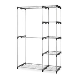 "Whitmor - Double Rod Closet - Whitmor Double Rod Closet - Dimensions: 19.29"" x 45.24"" x 68.03"" - Easy no tool assembly.  Coated metal silver color frame with durable resin end connectors.  5 extra strong wire shelves and 2 hanging bars.  Perfect for storage in the closet  basement  laundry room  etc. Removeable center bar for longer garments.  This item cannot be shipped to APO/FPO addresses. Please accept our apologies."