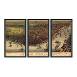 """Christopher David - New Orleans Artifact Map, 3-Panel, Grey Metal Frame - Material: Wood or metal, glass Finish: Matte black wood or industrial grey metal Dimensions: 63""""W X 37""""H (approximate size of entire mural, without frame spacing)"""