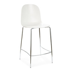 Domitalia - Playa-Bar Stool - White - Chrome Frame - Fabrizio Batoni's Playa-Sgb Stool is subtle and compelling, with a minimal silhouette highlighted by textural ribbing at the back of its transparent scooped seat. The structure is made using an embossing process which creates an interplay of refracted light. The Playa-Sgb Stool features a 4-leg chromed frame with a plastic shell in three color options. Select Transparent Blue, Transparent Smoke, or White.