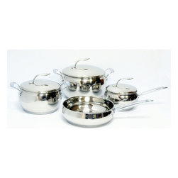 Gourmet Chef - Gourmet Chef 7-piece Stainless Steel Cookware Set - Cook away in style with this lovely seven-piece stainless steel cookware set from Gourmet Chef. Suitable for all cooking surfaces, these sauce pans, a casserole dish and fry pan complete this heavy duty cookware set.