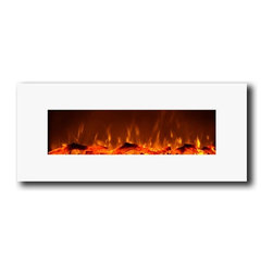 "Moda Flame - Houston 50 Inch Electric Wall Mounted Fireplace White - The Houston is a astonishing 50"" wide electric fireplace with suburb vivid flames and modern black frame that will create a statement in any room of your home or office. The Houston wall mounted electric fireplace delivers ambiance of a fireplace without the fire and fumes. You can enjoy three heat settings of high, low and no heat. The Houston with a heat setting, has the ability of providing heat for a room up to 400 sq. ft. Also, the fireplace's flame can can be used without the heating feature."