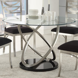 Coaster - Tapia Dining Table, Silver Metal - The oval tempered glass table top on this counter height table set offers a view to its stunning atom base. The oval motif of the dining table creates a unique focal point for your contemporary dining space. Metal microfiber upholstered chairs with a ladder back design provide stylish seating at the table. Simple yet sophisticated, the chairs will provide comfortable, cushioned seating with an inspiring modern design.